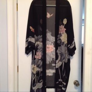 "Other - Black flower SILK Robe, open front, 42"" long, NWOT"